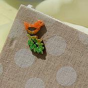 """Для дома и интерьера ручной работы. Ярмарка Мастеров - ручная работа """"Птичкин домик"""" двойной чайный домик декупаж птицы оранжевый зеленый. Handmade."""