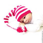 Работы для детей, handmade. Livemaster - original item beanie for a photo shoot hat cap with pompom, pink, fuchsia. Handmade.