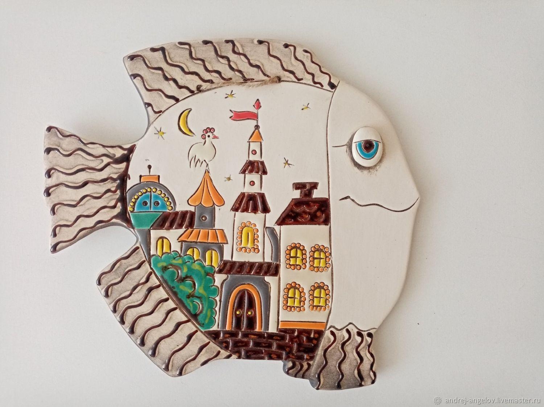 Керамическое панно ручной работы: Рыба-Картина, Панно, Краснодар,  Фото №1