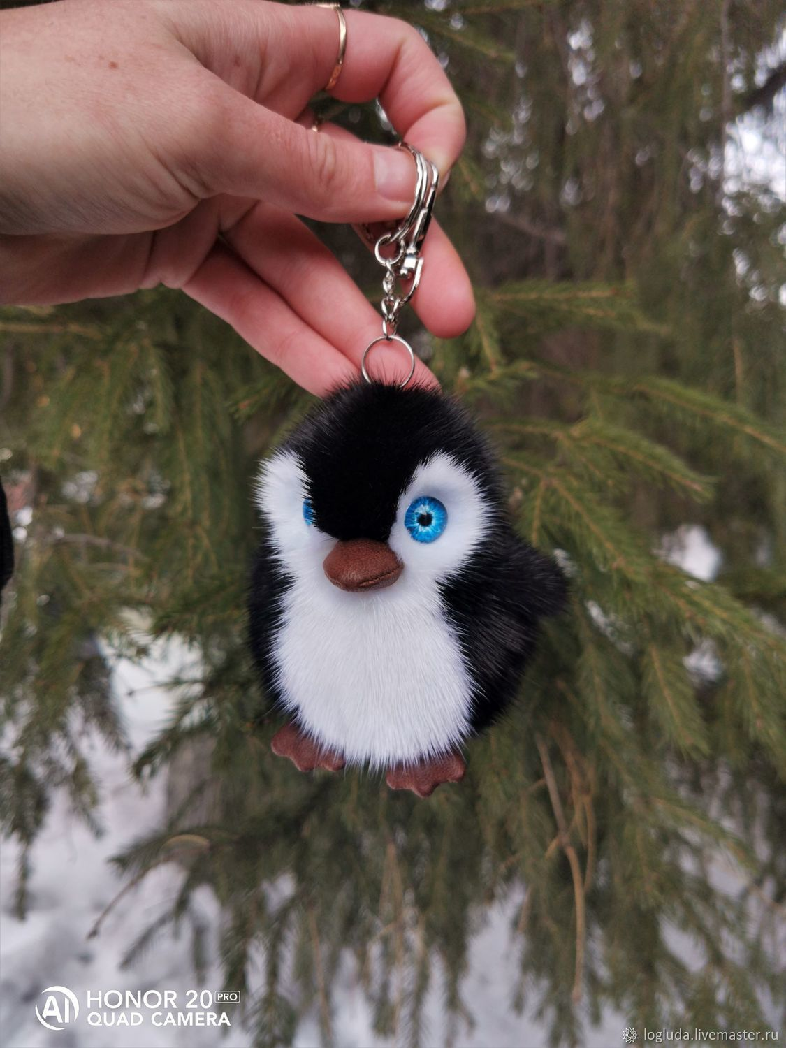 Penguin. Keychain made of natural mink fur, Teddy Toys, Horde,  Фото №1