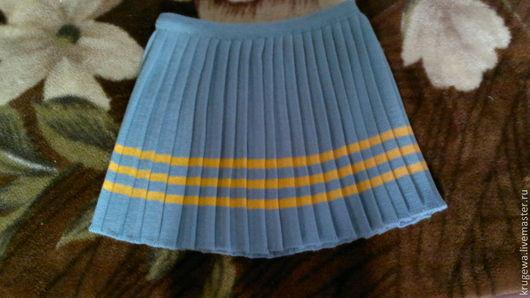 Одежда для девочек, ручной работы. Ярмарка Мастеров - ручная работа. Купить вязаная юбочка плиссе для девочки. Handmade. Голубой