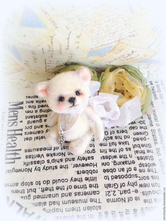 Мишки Тедди ручной работы. Ярмарка Мастеров - ручная работа. Купить Снежок (мини мишка тедди). Handmade. Белый