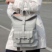 Сумки и аксессуары handmade. Livemaster - original item Backpack leather ladies grey