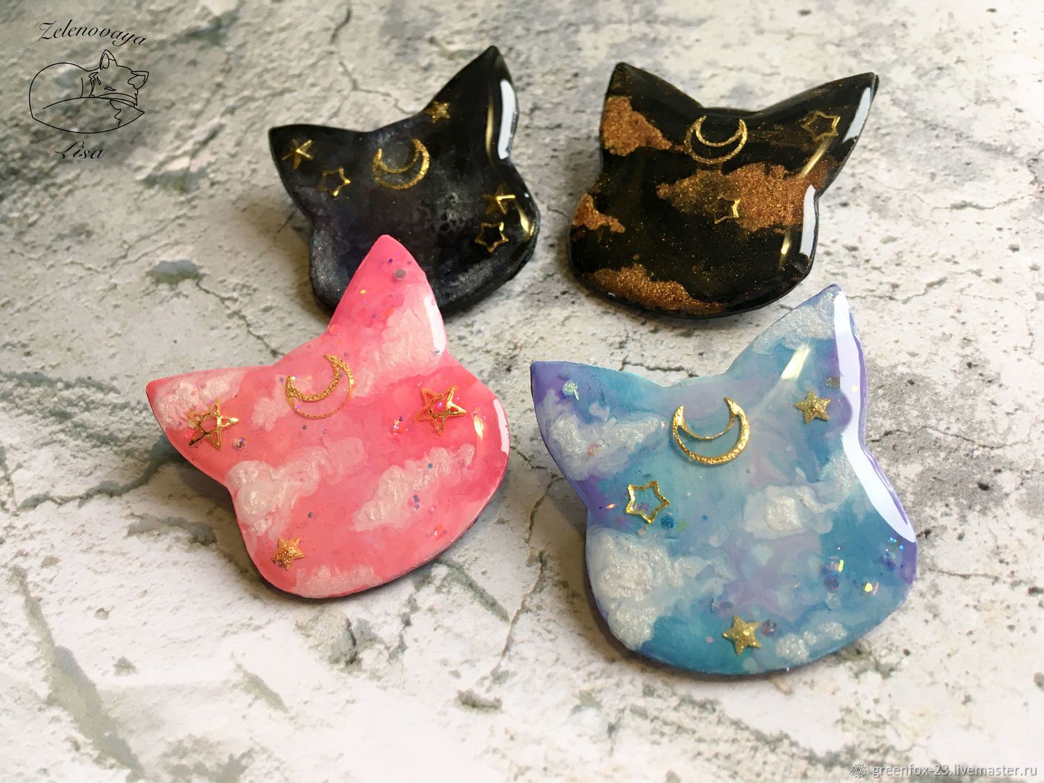 Brooch 'the Delicate celestial cat pink black blue space', Brooches, Bryukhovetskaya,  Фото №1