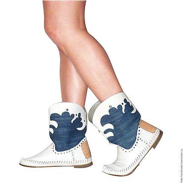 Обувь ручной работы. Ярмарка Мастеров - ручная работа Летние казачки TEXASO джинсовая ткань-натуральная кожа40- 41размер. Handmade.