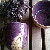 """Кружки ручной работы. Ярмарка Мастеров - ручная работа Ежевичный набор из кружки и салатника с """"деревом"""". Handmade."""