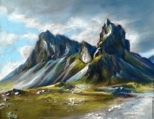 Пейзаж ручной работы. Ярмарка Мастеров - ручная работа. Купить Исландский пейзаж. Handmade. Комбинированный, исландия, наждачка