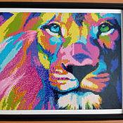 """Картины и панно ручной работы. Ярмарка Мастеров - ручная работа Картина в технике алмазная вышивка """"Лев"""". Handmade."""