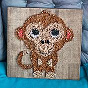 """Картины и панно ручной работы. Ярмарка Мастеров - ручная работа """"Обезьяна"""" в технике String Art. Handmade."""