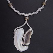 "Украшения handmade. Livemaster - original item Necklace ""Duet"" from beads with agate. Handmade."