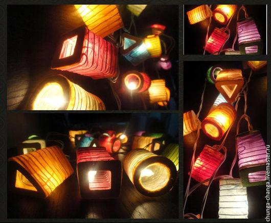 """Освещение ручной работы. Ярмарка Мастеров - ручная работа. Купить """"Китайские фонарики"""", светящаяся гирлянда из бумаги малбери. Handmade. Радуга"""