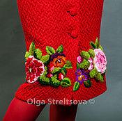 """Одежда ручной работы. Ярмарка Мастеров - ручная работа Вышитая красная юбка """"Цветочное колдовство"""" шерстяная юбка вышивка. Handmade."""