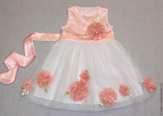 Одежда для девочек, ручной работы. Ярмарка Мастеров - ручная работа. Купить Платье для девочки Цветок Персика нарядное. Handmade. Белый