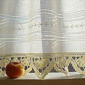 Для дома и интерьера ручной работы. Ярмарка Мастеров - ручная работа Льняная занавеска с ручным кружевом и мережкой. Handmade.