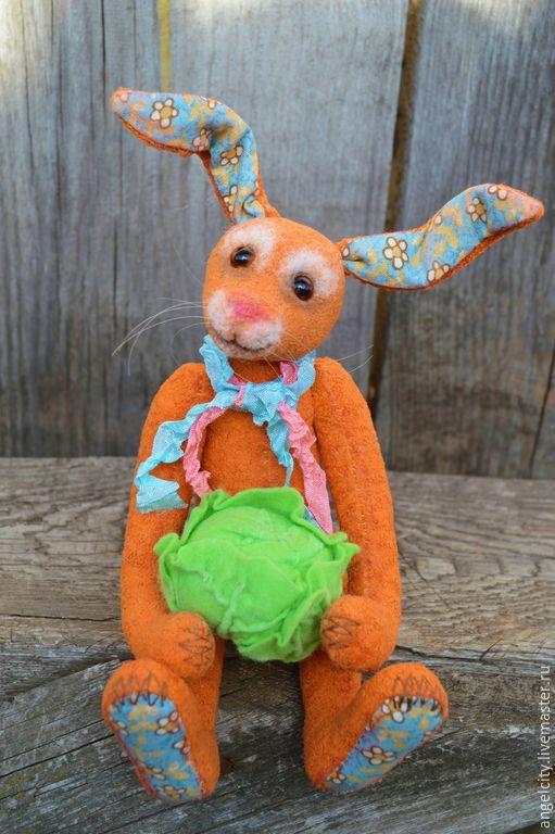 Мишки Тедди ручной работы. Ярмарка Мастеров - ручная работа. Купить Солнечный заяц с капустой. Handmade. Рыжий, заяц игрушка