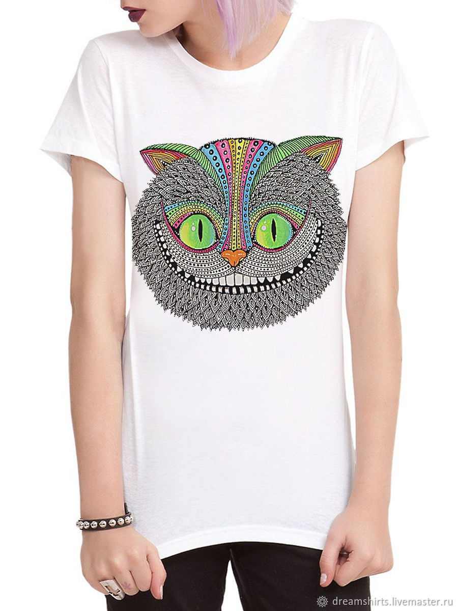 Cotton T-shirt ' Cheshire Cat', T-shirts, Moscow,  Фото №1