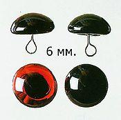 Глазки стеклянные на петельке. 6 мм. для теддиков.