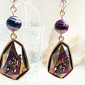 handmade. Livemaster - original item Gold-plated sparkling earrings made of cut agate with druse. Handmade.
