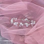 Браслеты ручной работы. Ярмарка Мастеров - ручная работа Браслеты: Утонченный браслет невесты с жемчугом и фианитами. Handmade.