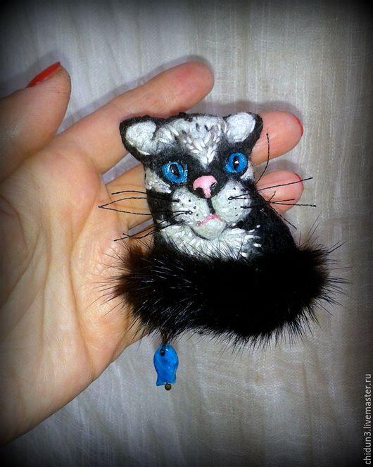 Броши ручной работы. Ярмарка Мастеров - ручная работа. Купить Брошь текстильная кот. Handmade. Черный, украшения ручной работы