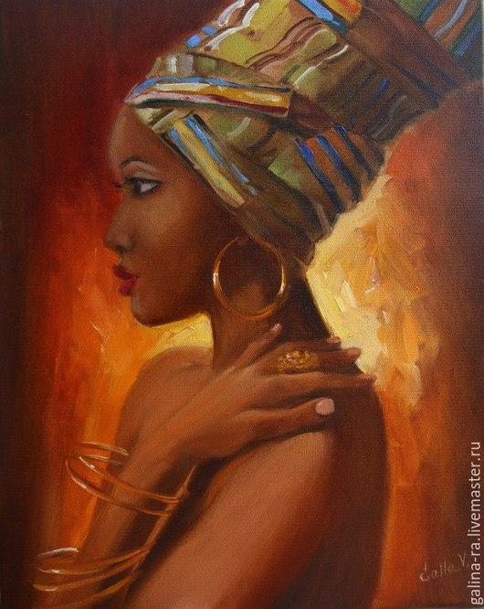 """Люди, ручной работы. Ярмарка Мастеров - ручная работа. Купить картина маслом на холсте """" Богиня Африки"""". Handmade. Рыжий"""