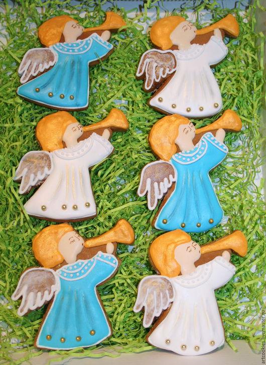 Кулинарные сувениры ручной работы. Ярмарка Мастеров - ручная работа. Купить Пряничные ангелочки. Handmade. Комбинированный, пряники ручной работы