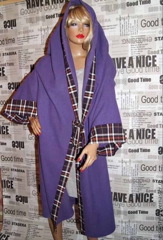 """Большие размеры ручной работы. Ярмарка Мастеров - ручная работа. Купить Пальто """"фиолетовое"""". Handmade. Фиолетовый, бохостиль, свободный крой"""