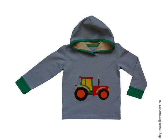 """Одежда для мальчиков, ручной работы. Ярмарка Мастеров - ручная работа. Купить Толстовка с капюшоном """"Трактор"""". Handmade. Рисунок, толстовка"""