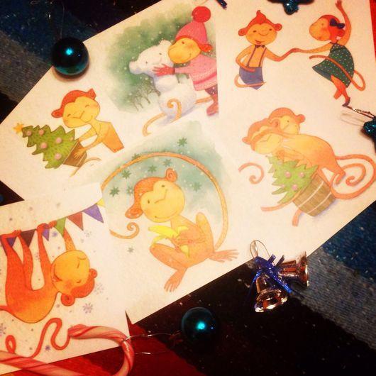 Открытки к Новому году ручной работы. Ярмарка Мастеров - ручная работа. Купить Набор новогодних почтовых открыток к 2016 Весёлые обезьяны. Handmade.