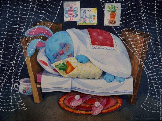 Фантазийные сюжеты ручной работы. Ярмарка Мастеров - ручная работа. Купить Картина акварелью Зайка спит. Handmade. Зайка