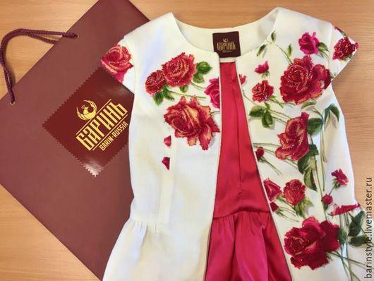 Пиджаки, жакеты ручной работы. Ярмарка Мастеров - ручная работа. Купить Эксклюзивная летняя душегрея с ручной вышивкой бисером. Handmade.