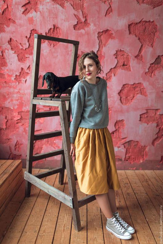 Юбки ручной работы. Ярмарка Мастеров - ручная работа. Купить Трикотажная стеганая юбка горчичного цвета. Handmade. Желтый