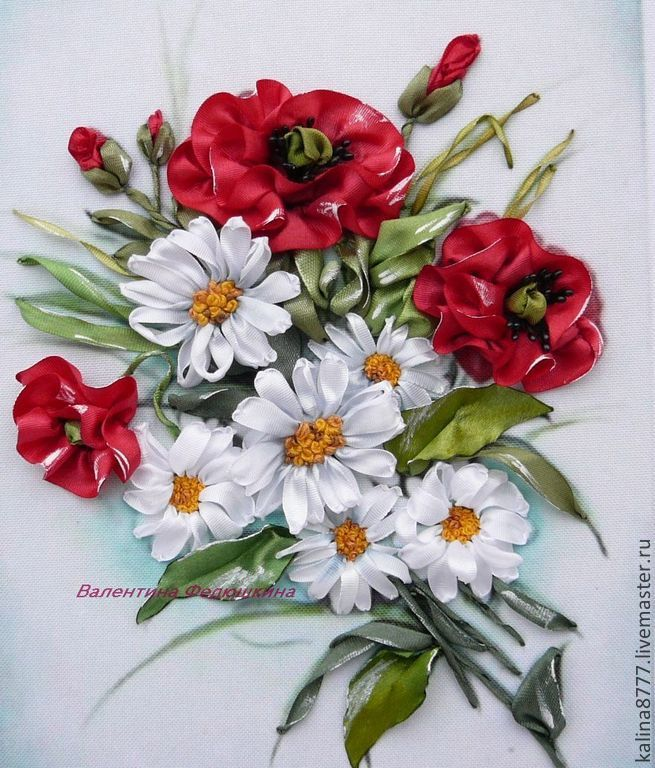 Картины из цветов из атласных лент фото 192