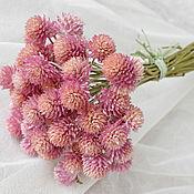 Цветы и флористика ручной работы. Ярмарка Мастеров - ручная работа Гомфрена розовая сухоцвет букетик. Handmade.