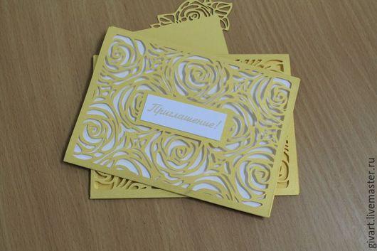Свадебные открытки ручной работы. Ярмарка Мастеров - ручная работа. Купить Букет нежных ажурных роз. Handmade. Золотой