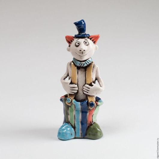 Человечки ручной работы. Ярмарка Мастеров - ручная работа. Купить Клоун в полосатых штанах.. Handmade. Комбинированный, керамика ручной работы
