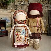 """Народные сувениры ручной работы. Ярмарка Мастеров - ручная работа Куклы-столбушки """"Семейная пара. Счастье рядом"""". Handmade."""