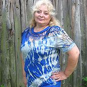 """Одежда ручной работы. Ярмарка Мастеров - ручная работа Футболка женская """"Шибори"""" синяя. Handmade."""