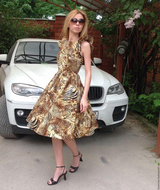 Платья ручной работы. Ярмарка Мастеров - ручная работа. Купить Летнее платье из хлопка Леопард. Handmade. Комбинированный, юбка полусолнце