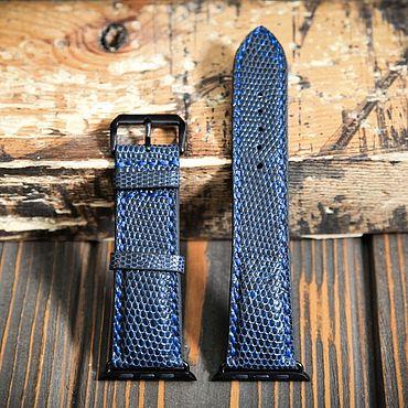 Украшения ручной работы. Ярмарка Мастеров - ручная работа Синий кожаный ремешок для Apple Watch из кожи ящерицы. Handmade.