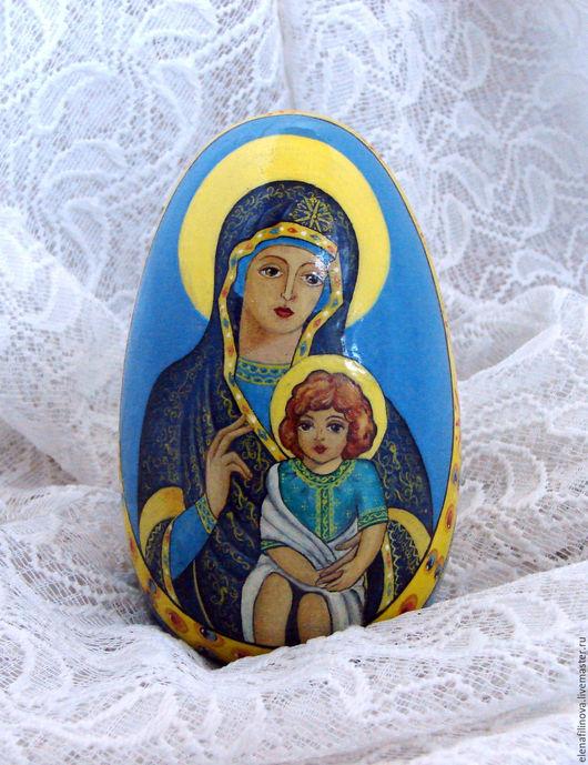 Подарок на Пасху, яйцо пасхальное, пасхальное  яйцо Богородица с младенцем, роспись, яйцо расписное, подарок на Рождество, подарки к праздникам, яйцо деревянное, яйца пасхальные, подарок на Пасху.