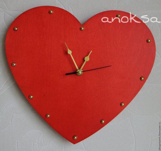 Часы для дома ручной работы. Ярмарка Мастеров - ручная работа. Купить часы Сердце. Handmade. Ярко-красный, часы