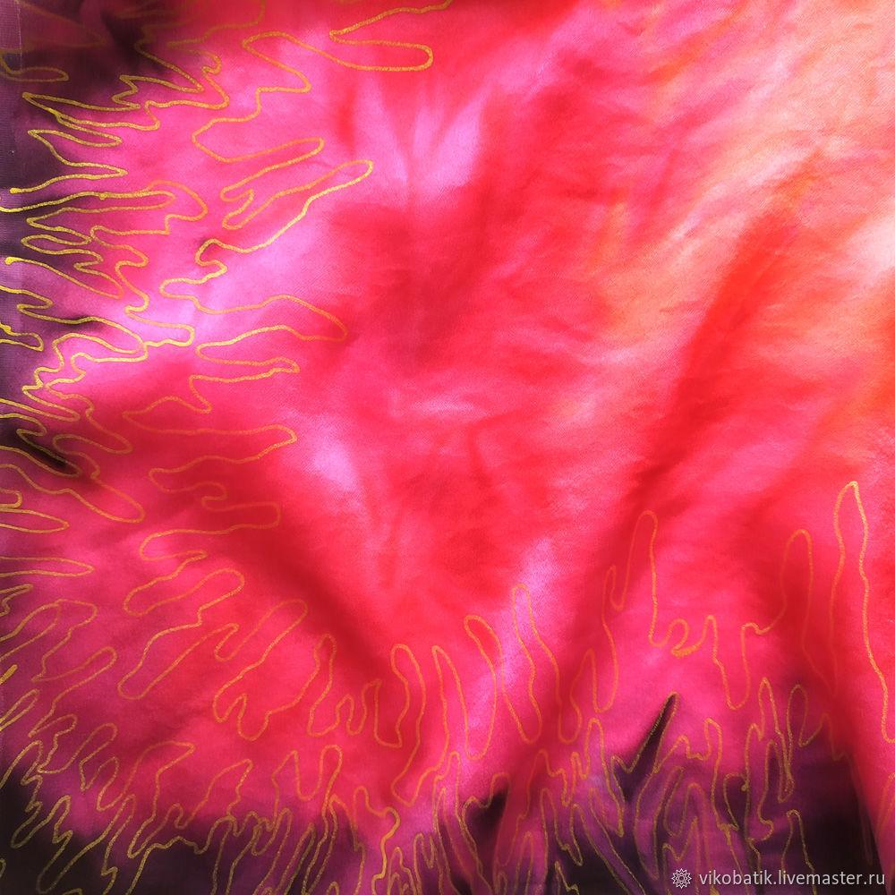 Batik shawl ' Red ' Red Natural silk satin 100%, Shawls1, Kislovodsk,  Фото №1