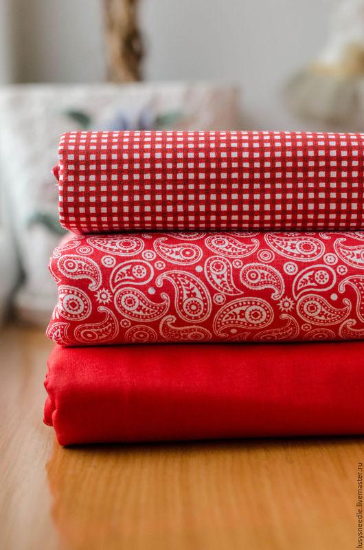 Шитье ручной работы. Ярмарка Мастеров - ручная работа. Купить Ткань для пэчворка. Набор №13. Handmade. Ярко-красный
