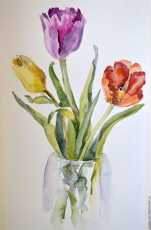 """Картины цветов ручной работы. Ярмарка Мастеров - ручная работа. Купить Картина акварелью """"Тюльпаны"""". Handmade. Комбинированный, картина в подарок"""