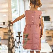 Dress handmade. Livemaster - original item clothing: MOLLY`s linen dress for a girl is pink. Handmade.