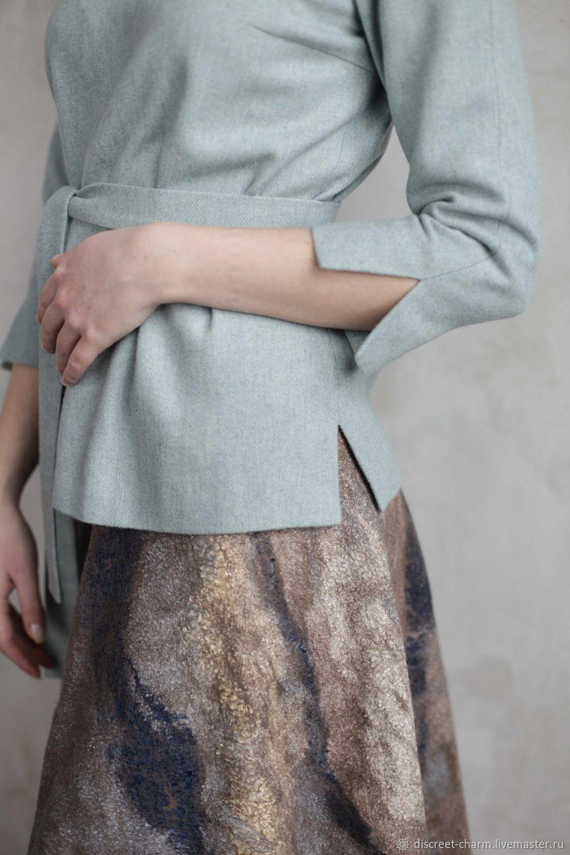 Пиджаки, жакеты ручной работы. Ярмарка Мастеров - ручная работа. Купить Тёплый шерстяной жакет пыльно-голубого цвета с поясом, рукав 3/4. Handmade.