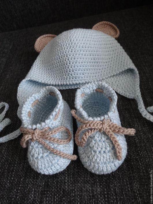 Для новорожденных, ручной работы. Ярмарка Мастеров - ручная работа. Купить Комплект: шапочка и пинетки.. Handmade. Комбинированный, комплект на выписку