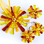 Украшения handmade. Livemaster - original item Set jewelry Sunlight, fused glass, art glass, murano glass. Handmade.