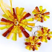 Украшения handmade. Livemaster - original item Set jewelry Sunlight, fused glass, art glass, murano glass. Handmade.
